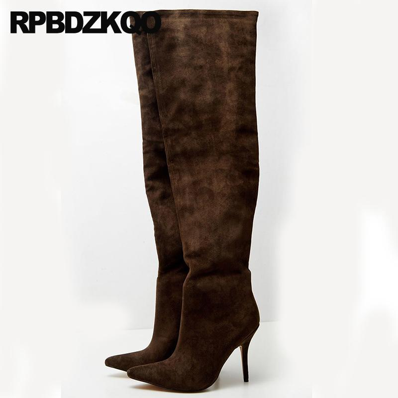 long big size pointed toe extreme high heel 10 thigh boots for plus women fetish slip on tall fashion slim thin stiletto shoes
