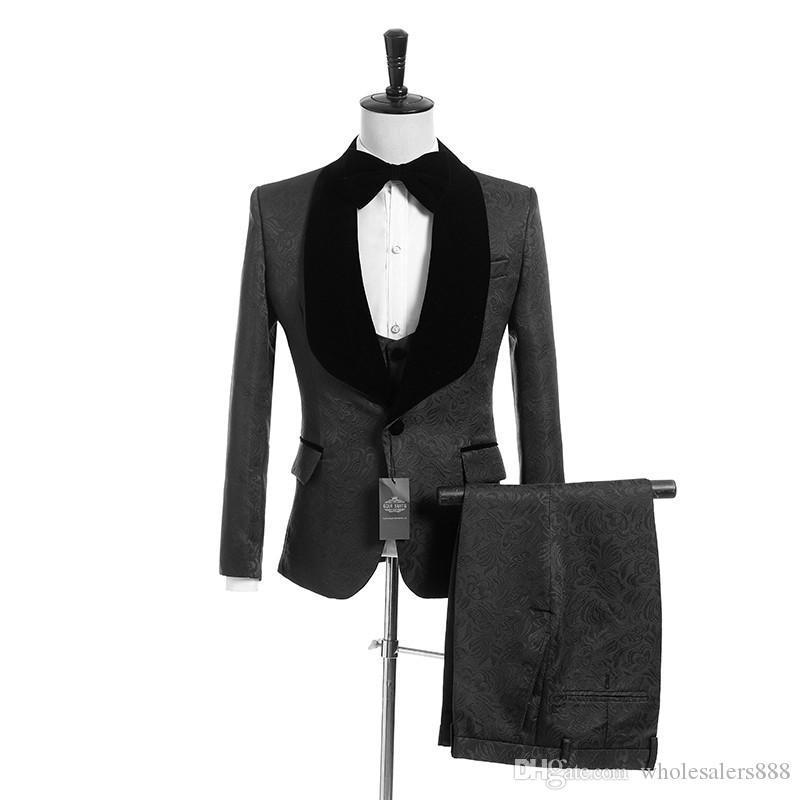 Custom Made Groomsmen Black Pattern Groom Tuxedos Shawl Lapel Men Suits Side Vent Wedding/Prom Best Man ( Jacket+Pants+Vest+Tie ) K945
