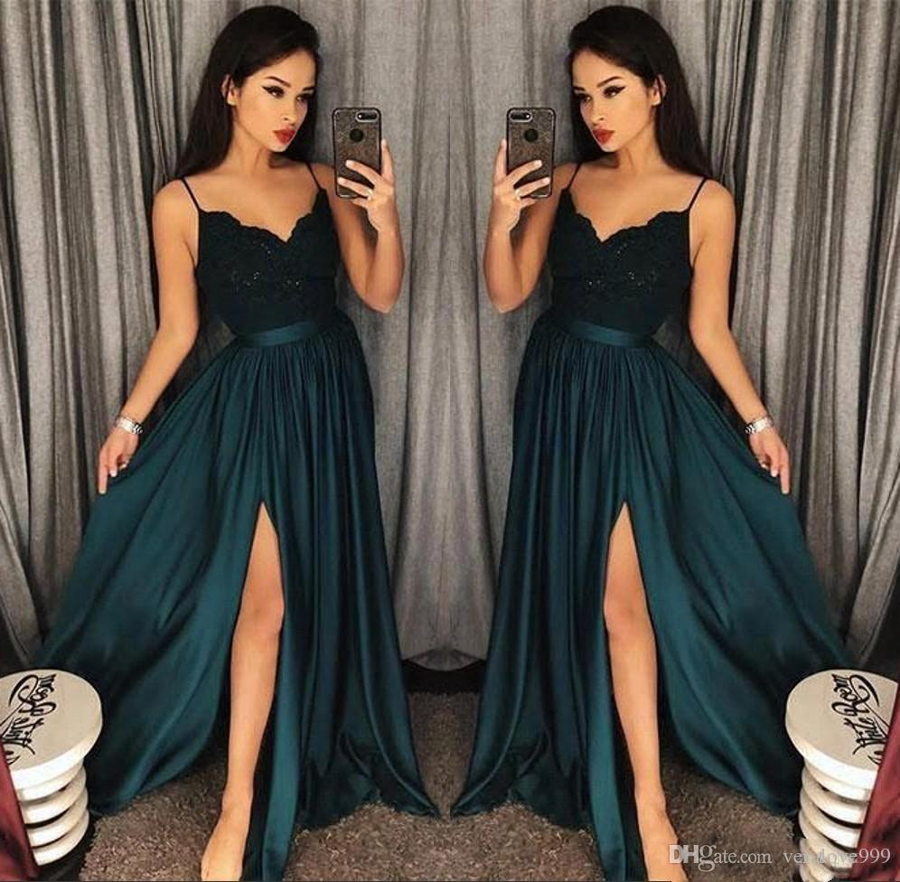 2018 Elegant Evening Gowns A-Line Blackish Green High Split Cutout Side Slit Lace Sexy Arabic Gowns Sweep Train Formal Party Prom Dresses