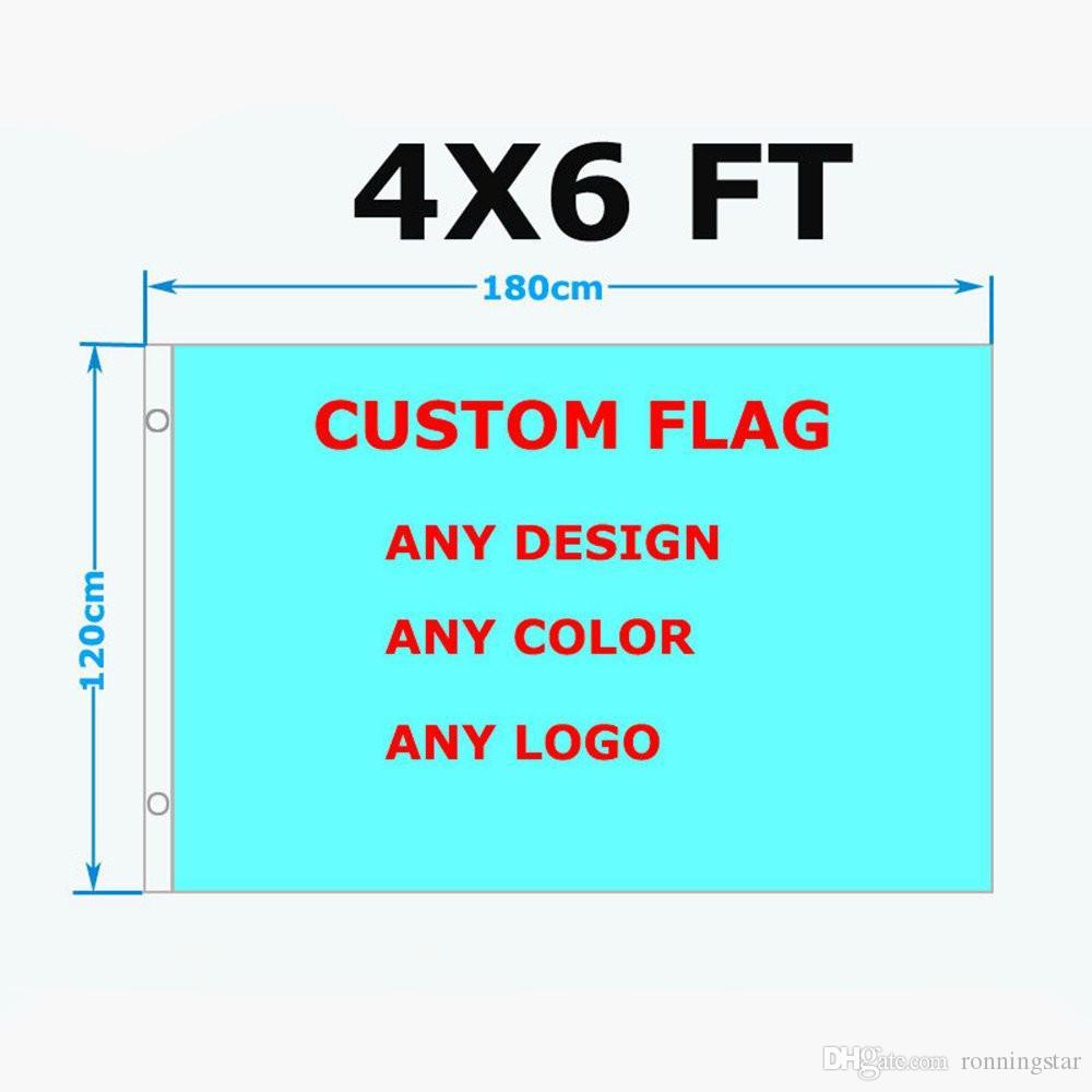4x6 FT Kundenspezifische Flaggen-100D Polyester Heiße verkauf billig Freies Verschiffen Custom Design Outdoor-Team Sport Werbung Parade-Club