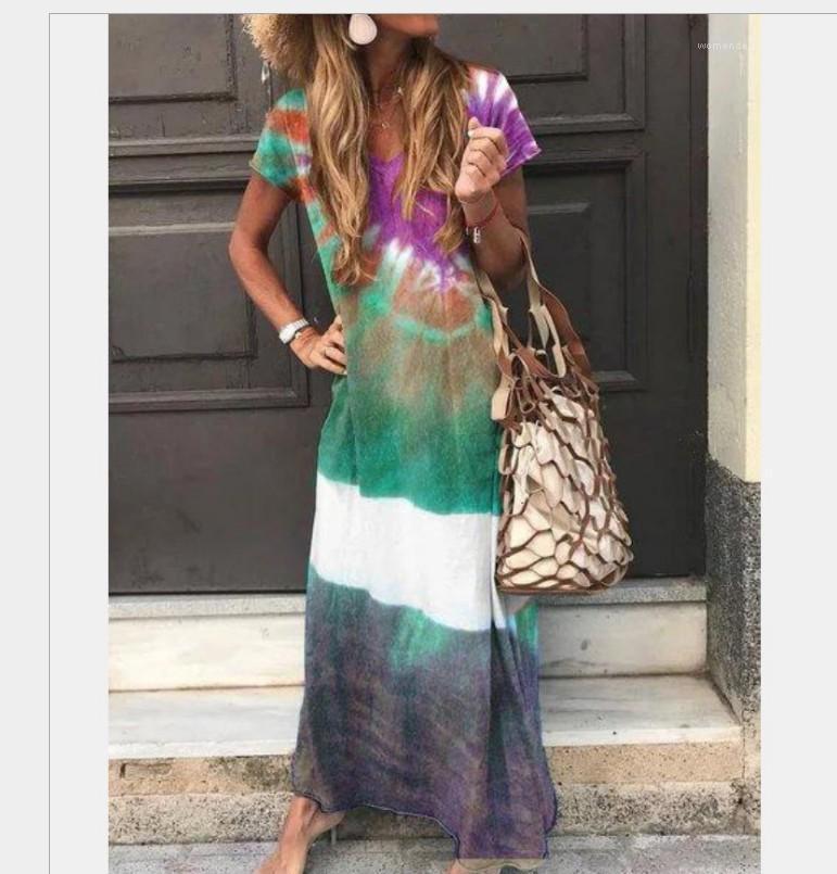 V-Ausschnitt langes Kleid Kurzärmlig beiläufige Kleider Panelled Multi Color Female Kleidung Loose Women Designer Drucken