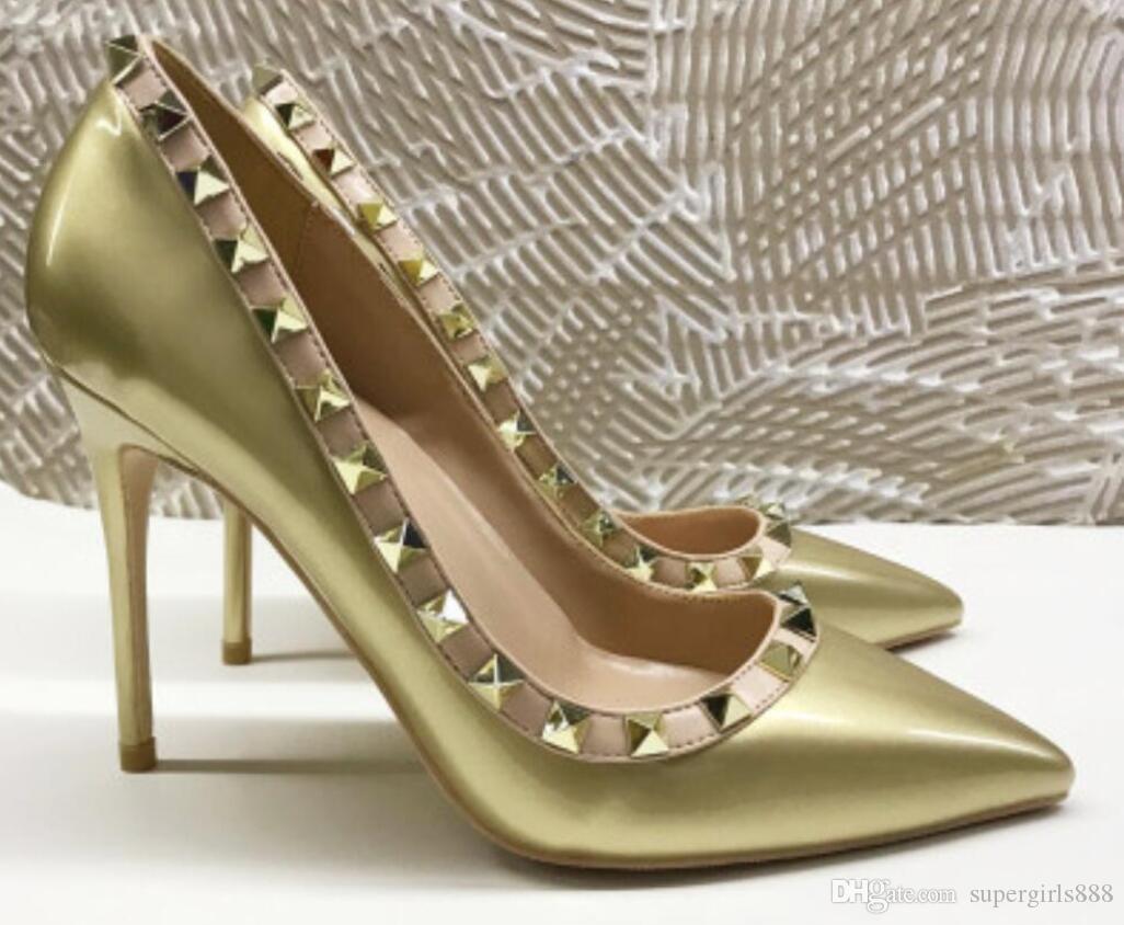 2020 8cm 10cm 12cm Stiletto Spitzschuh Frauen rote untere Pumpen Mode-Absatz-Schuhe Sandalen Niet Kleid Hochzeit plus Größe 45 Schuhe