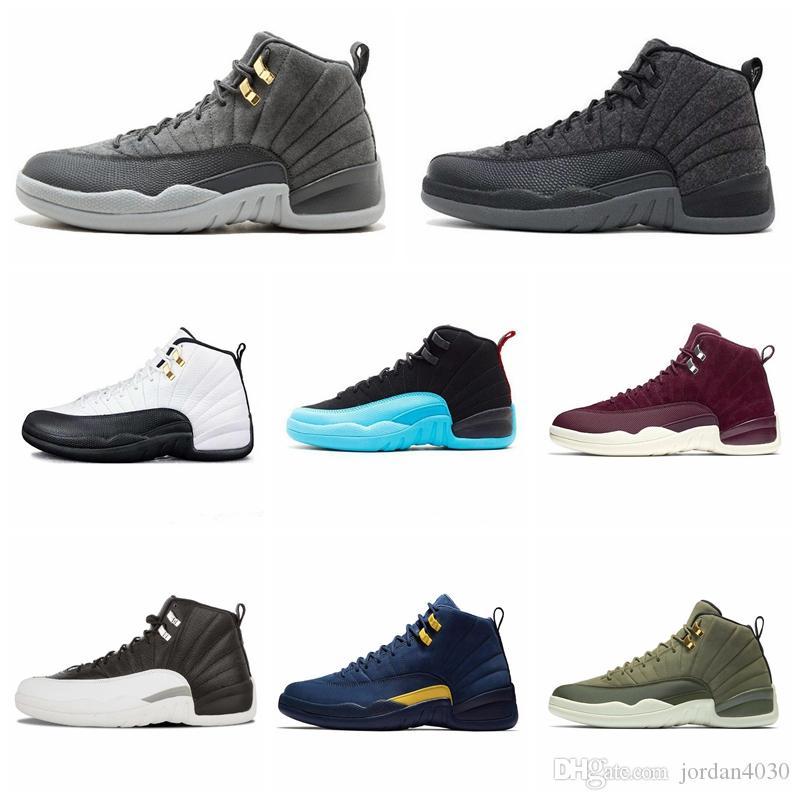 Nike Air Jordan Original AJ AJ12 2019 12 Shoes Men Basquete alta Gym Mais Popular Red CNY Lã Colégio Marinha Preto Inverno Grey Gamma azuis Formadores Designer