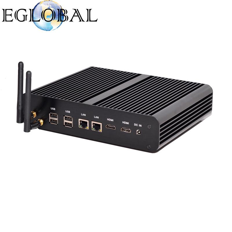 Eglobal Fanless Small PC Intel Core i7-5500U HD Graphics 5500 2HDMI WiFi Nettop Computer PC black color aluminum alloy