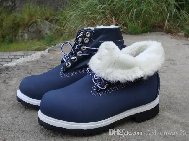 Bois mens gros Roll Top avec des bottes de randonnée bleu chaussures de travail de la laine de haute qualité pour les hommes avec boîte en vente