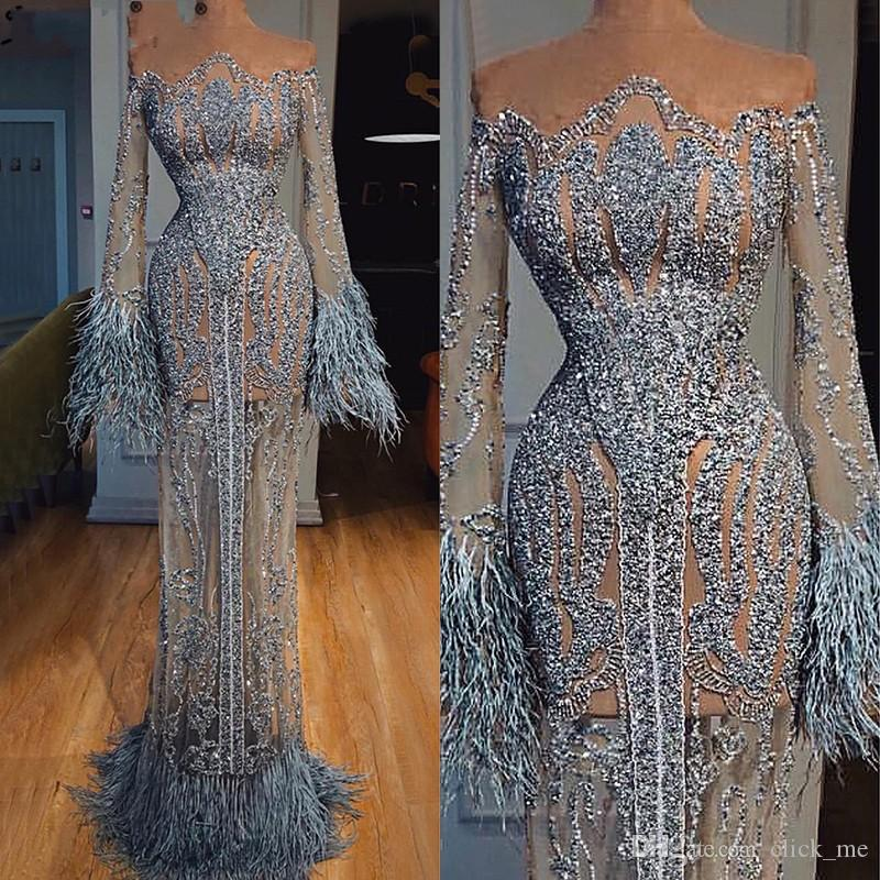 See Through Feathers Sequined Prom Dresses Dubai Illusion Long Sleeve Robe De Soiree Luxury Mermaid Evening Gowns Special Occasion Dress