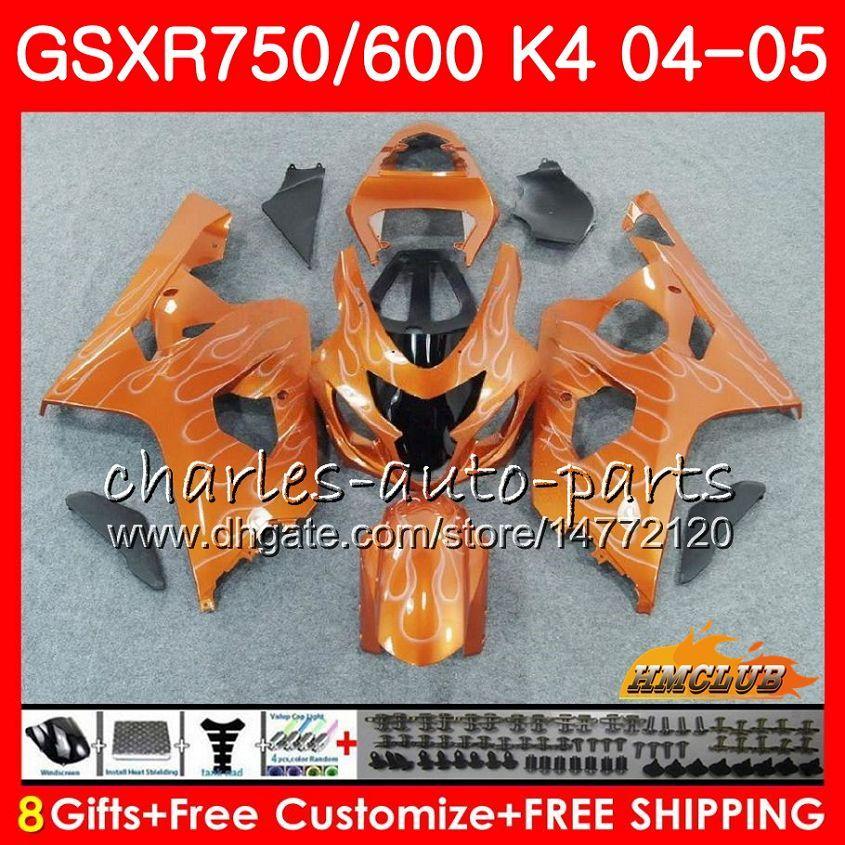 Orange clair chaud Bodys Pour SUZUKI GSXR 750 GSX R600 R750 GSXR600 2004 2005 GSXR 600 7HC.72 GSXR750 04 05 GSXR600 K4 GSXR750 04 05 carénages