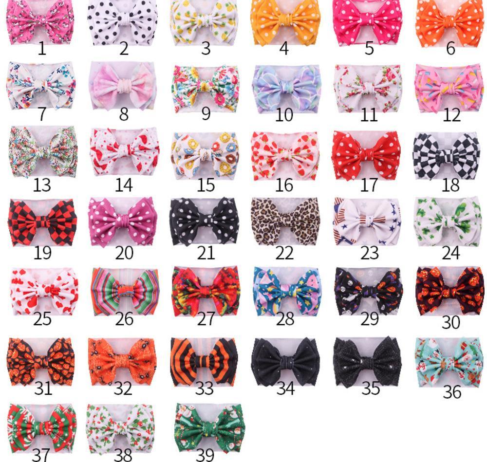 39 de impresión en color banda linda chica de cabello 2020 polka dot bebé bebé niña tocado tocado de grandes bowknot pelo multicolor de banda ancha