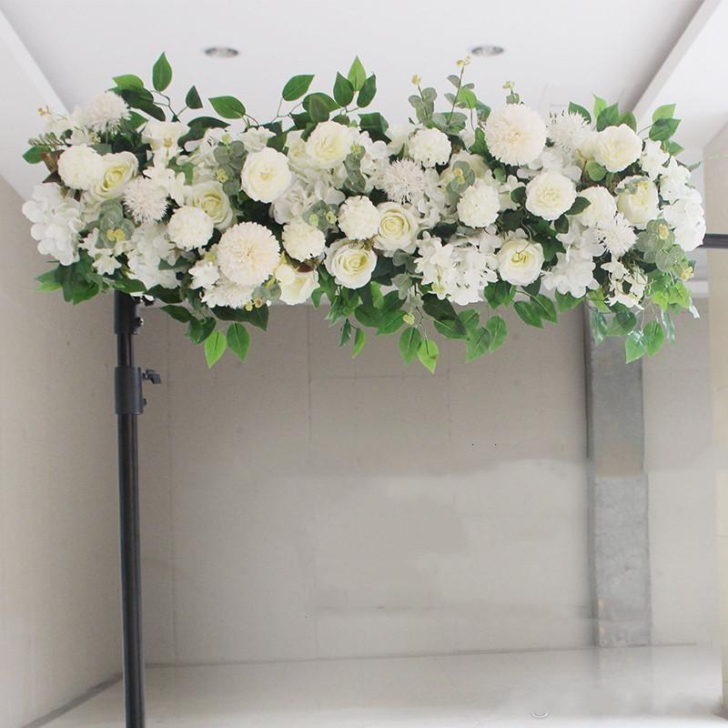 100cm personnalisés décor ligne de fleurs pivoines fournitures arrangement de mur de fleurs de mariage en soie artificielle pour toile de fond arc de fer de mariage