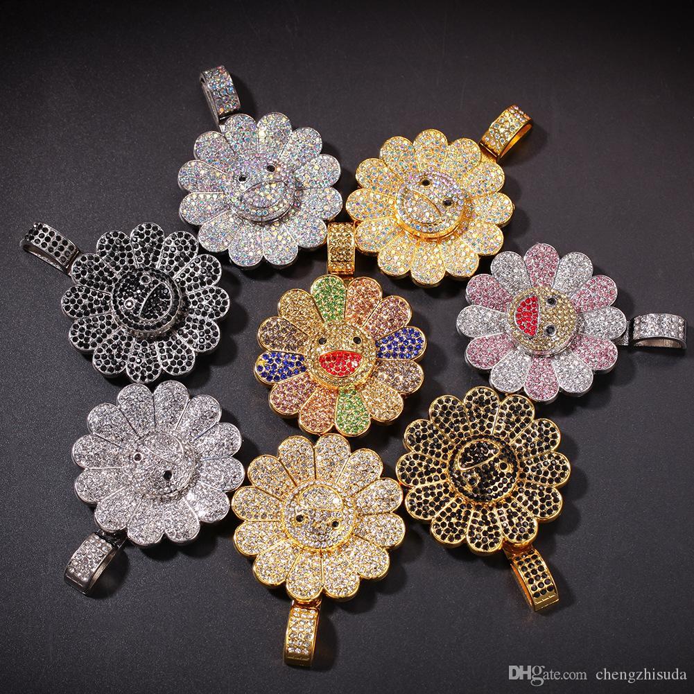 Hommes Hip-hop glacé bling Sun fleur forme pendentif colliers avec chaîne de corde rotatif collier Hiphop bijoux cadeaux
