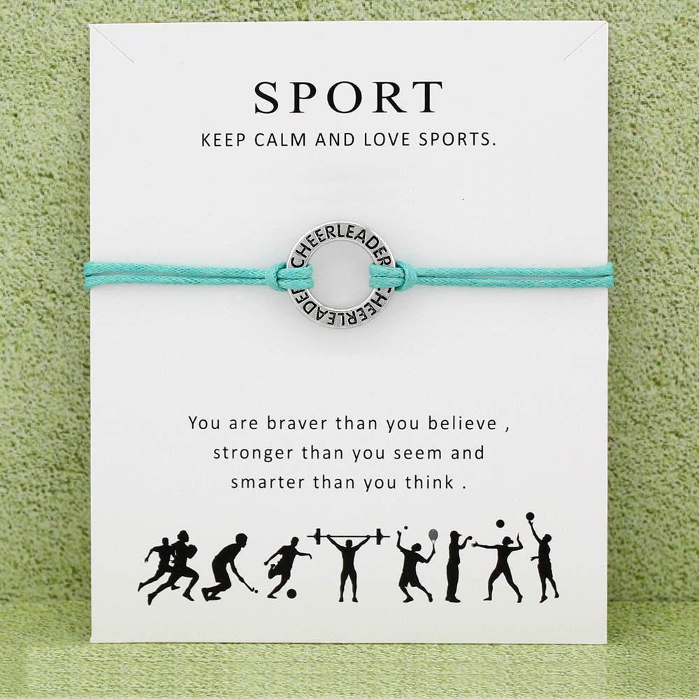 Mode Cheerleader Cheer Mom Baseball-Softball-Basketball Fußball Hockey Volleyball Sport-Charme-Karte Armbänder Frauen Männer Schmuck Geschenk