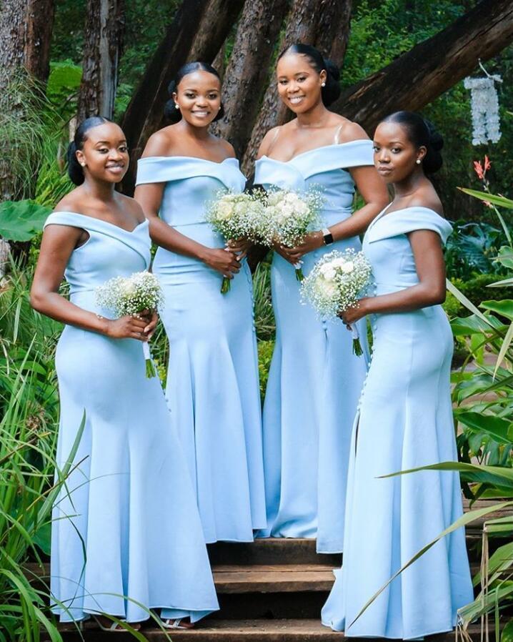 Tamaño más elegante del hombro de la sirena del cielo azul de dama de honor Vestidos Off lateral abierto vestidos largos de satén de la boda de los huéspedes