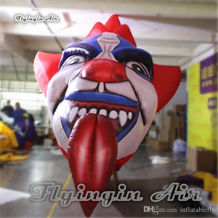 Kundengebundene riesige aufblasbare Teufel-Clown-Kopf-3m Höhen-Dämon-Schädel-Maske Halloweens für Nachtclub und Speicher-Deckendekoration