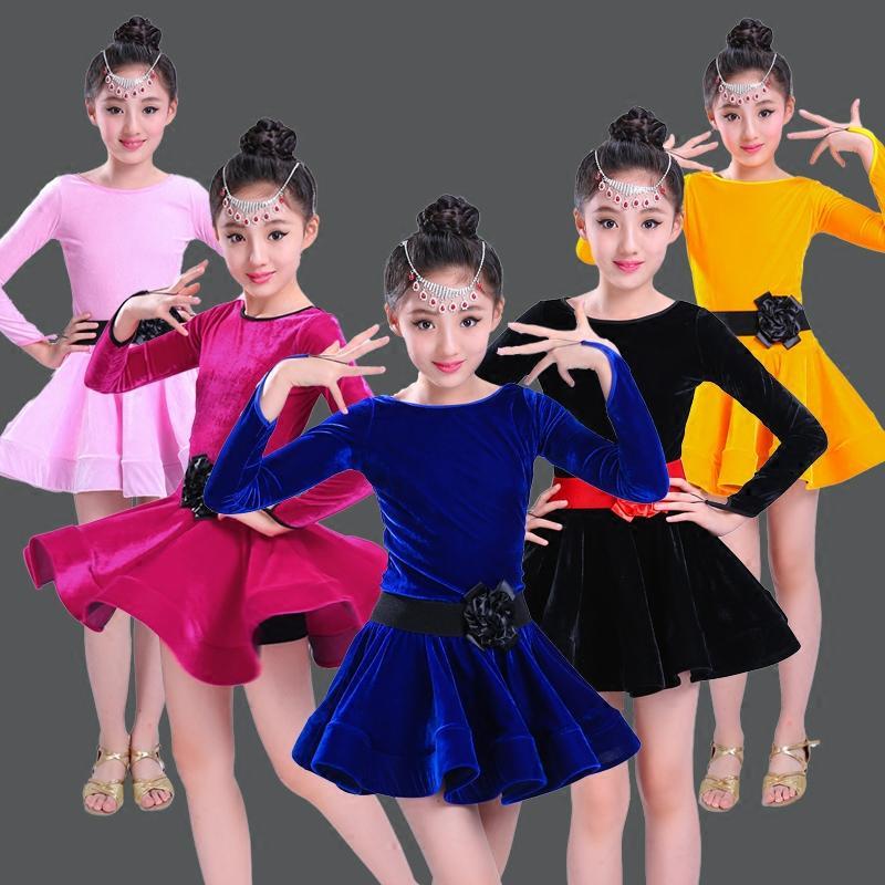 Children Girl Gold Velvet Latin Dresses Gymnastics Dancewear Competition Dancing Costume Child Ballroom Dance Dress For Girls