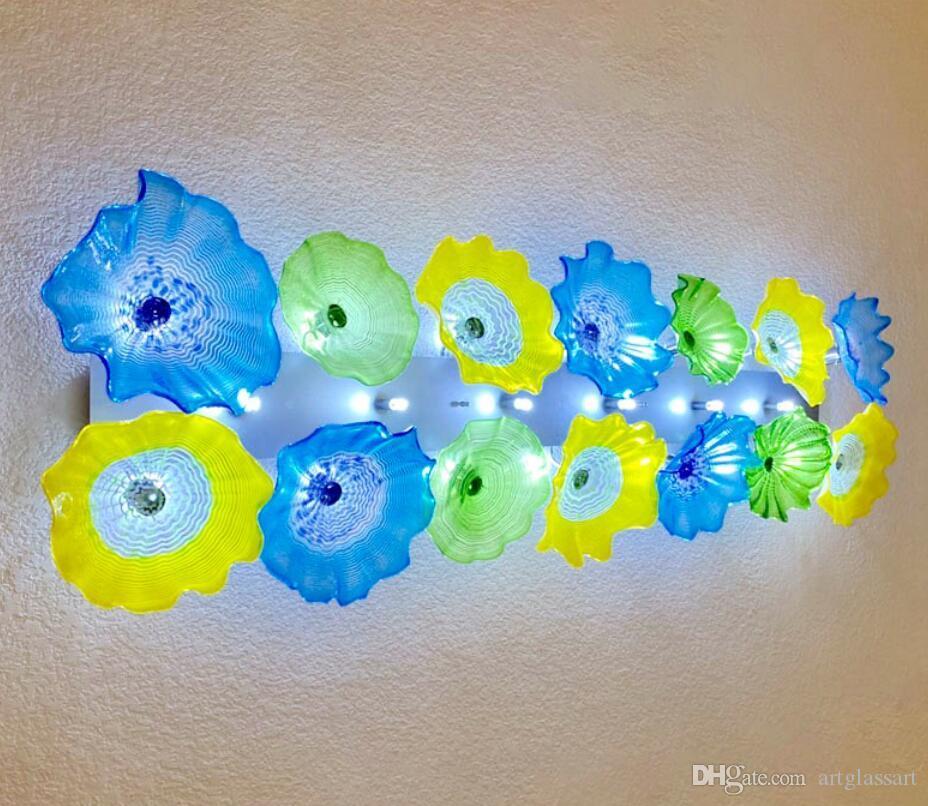 Modern sanatlar dekor çiçek plaka lambaları İtalyan tasarım el üfleme lamba aydınlatma led murano cam sanat duvar aplik