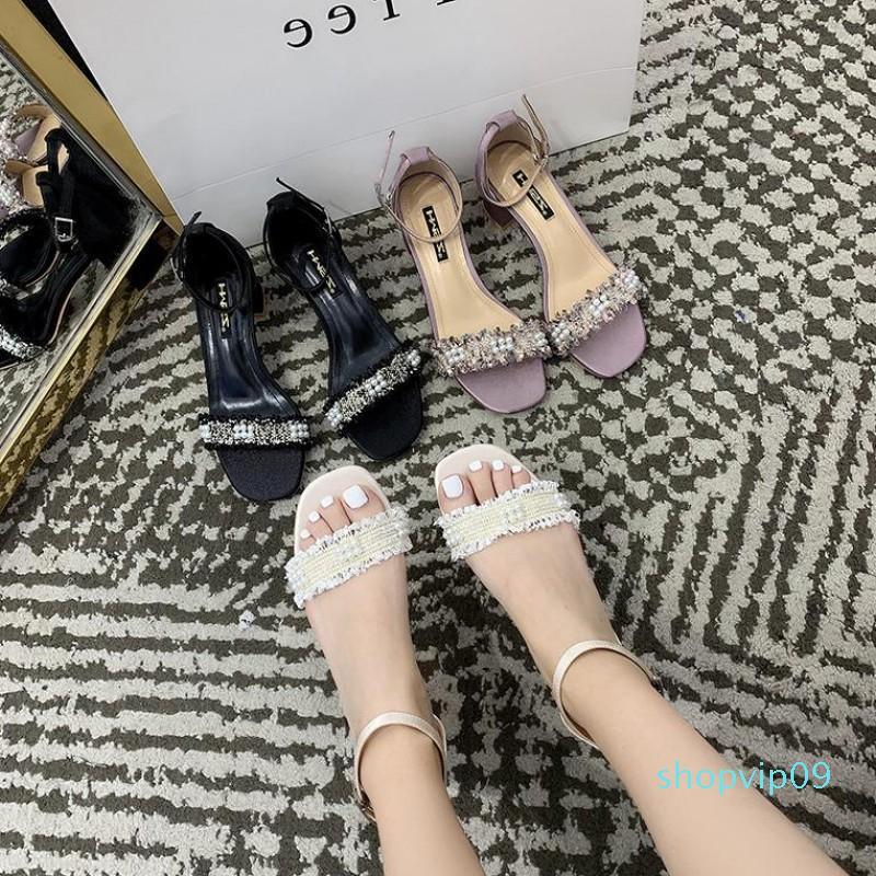 Current2019 de tacón alto Joker zapato zapatos gruesa con Tender Abierto por la noche Hada Una palabra Llevar sandalias Mujer