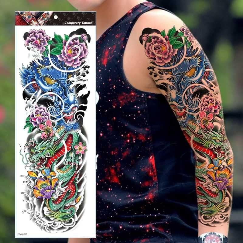 REALISTA TEMPORAL la manga del tatuaje, lleno de flores de ARM, tribal, dragón, ARM, NEGRO, para hombre