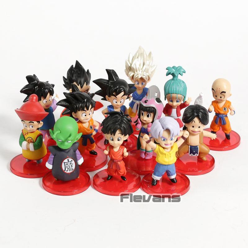 Dragon Ball Child SBulma Trunks Chi Chi Vegeta on Goku Gohan Gotan Krillin Piccolo Mini PVC Figures DBZ Figurines Toys 13pcs/set Y191105