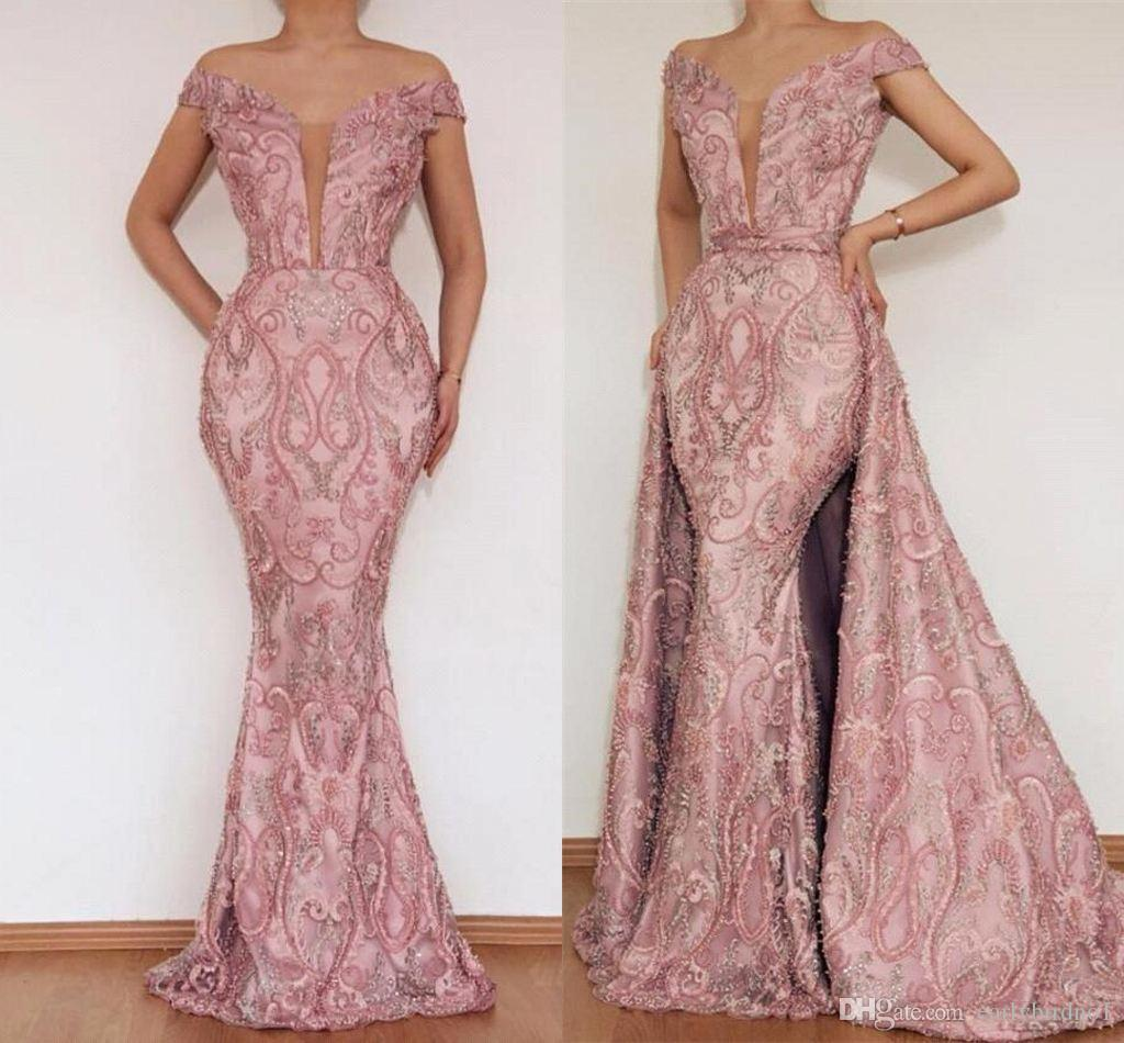 Elegant Blush Pink Lace Appliqued Mermaid Prom Dresses Luxury Off Shoulder Evening Party Gown With Detachable Train Formal Dresses BC2466