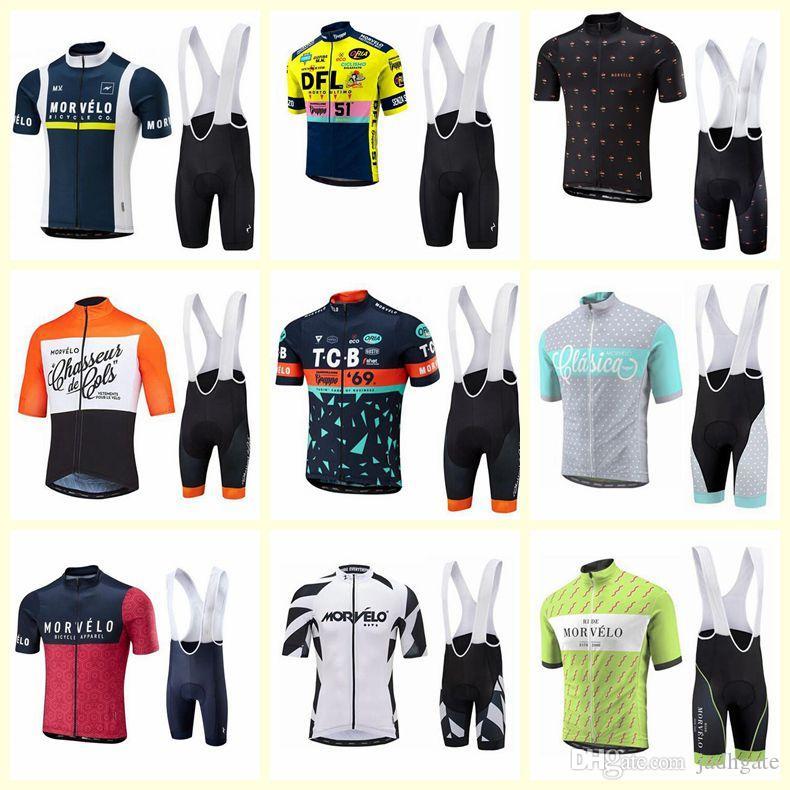 Morvelo team Cycling Short Sleeves jersey bib shorts sets Men Summer Bicycle Clothing Ropa Ciclismo outdoor sport MTB U121920