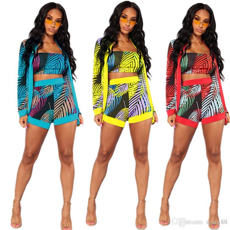 Bayan eşofman ceket baskı üç parçalı setleri tasarımcı yaz giyim straplez İnce tee üst bodycon mini şort uzun kollu hırka 868