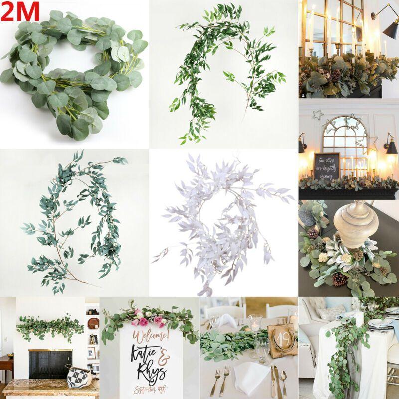 Ghirlanda di eucalipto falso artificiale piante a foglia lunga verde fogliame decorazioni per la casa eucalipto foglia di salice pianta verde fogliame