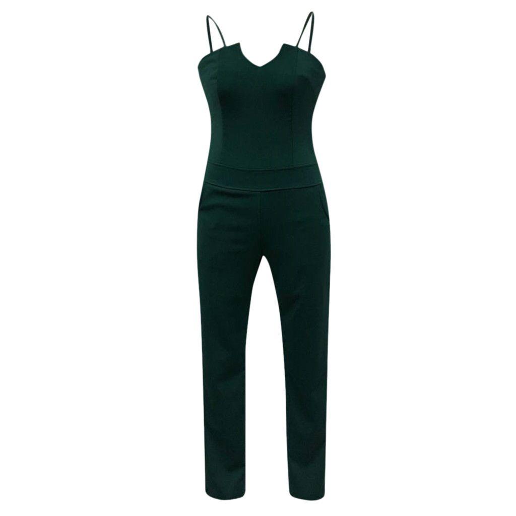 Wholesale-feitong 2019 Female bodysuit Women Ladies sexy Casual solid V-Neck Sleeveless Jumpsuit Playsuit Long Romper combinaison femme