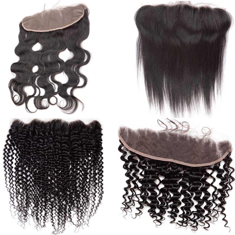 10A 브라질 페루 말레이시아 인도 레이스 정면 폐쇄 13x4 아기 머리 무료 표백 된 매듭 자연 인간의 머리 바디 웨이브 레이스 정면