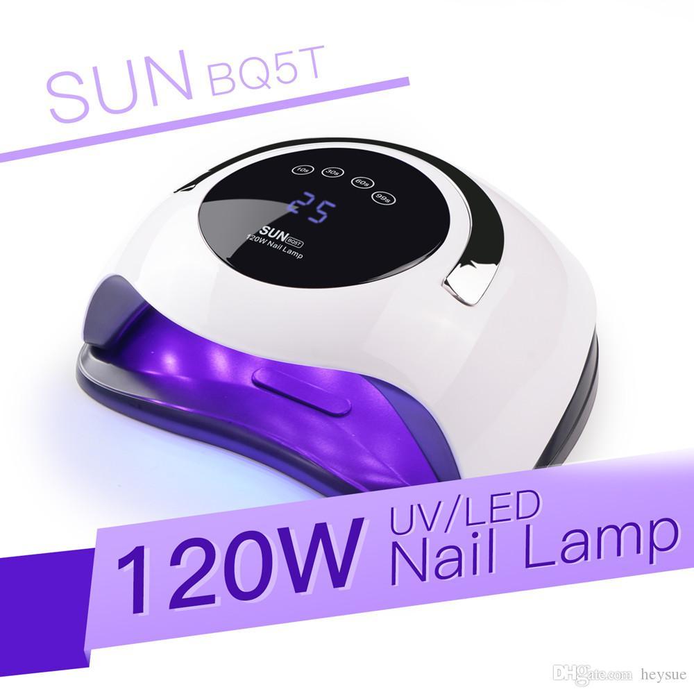 SUN BQ5T المحمولة الأظافر 120W هايت السلطة مجفف سريع علاج هلام مسمار مصباح الأشعة فوق البنفسجية LED ضوء الاستشعار الذكية 10S 30S 60S 99S الموقت آلة مانيكير