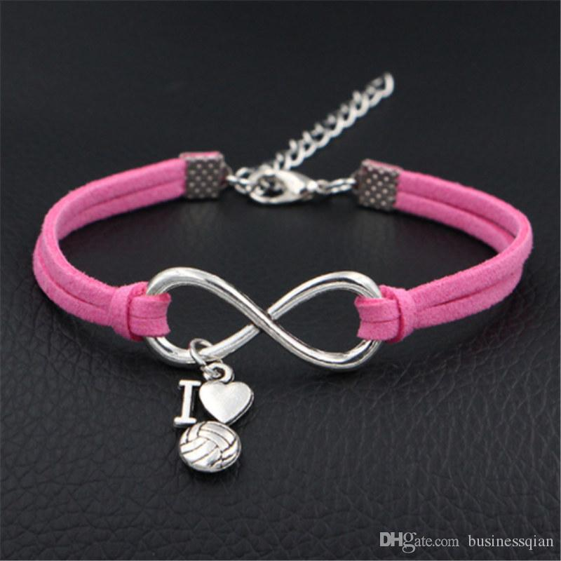 Silver Infinity Love I Heart Volleyball And Pink Leather Suede Bracelets Bangles Fashion Valentine Gift for Girlfriend Jewelry For Women Men