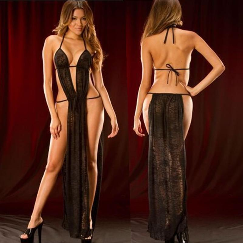Good Quality See Through Sexy Lingerie Hot Black Long Dress langerie Sexy Underwear Erotic Lenceria Sexy Costumes Sleepwear