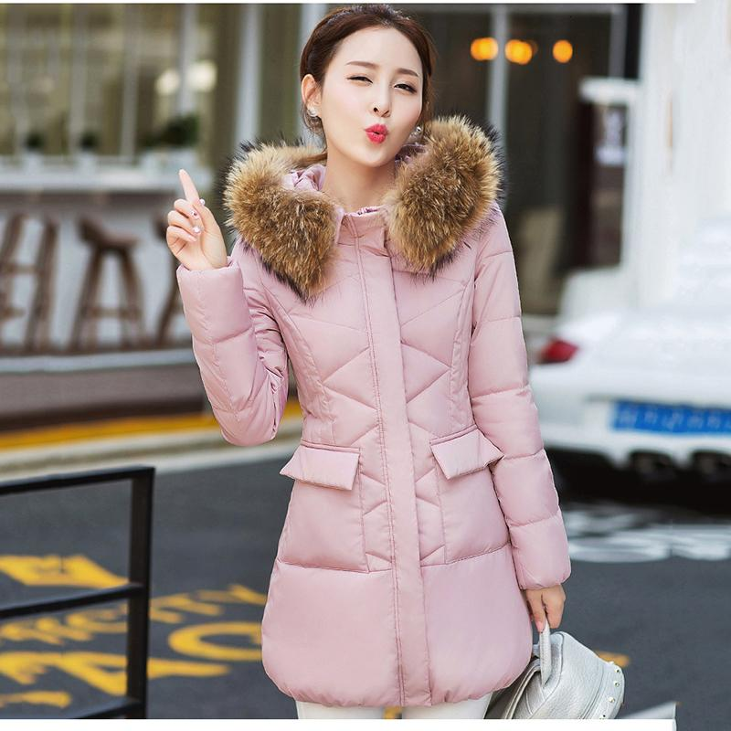 Casual Large size Warm Hooded Female Cotton Coat Solid color Winter Medium length Fur collar Women Cotton Coat 2019 New NUW152 SH190920