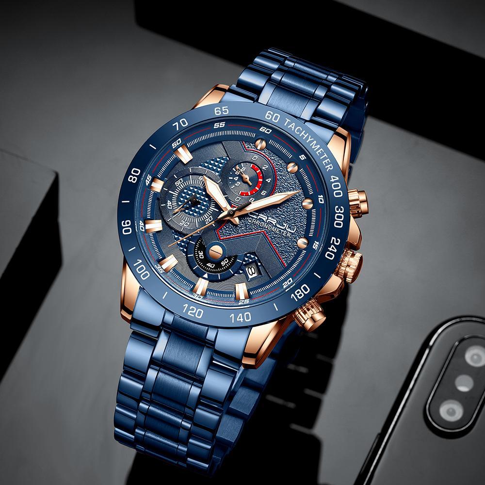 العلامة التجارية الفاخرة CRRJU رجل جديد ووتش أزياء الرياضة للماء توقيت ذكر Satianless الصلب ساعة اليد Relogio ذكر لل