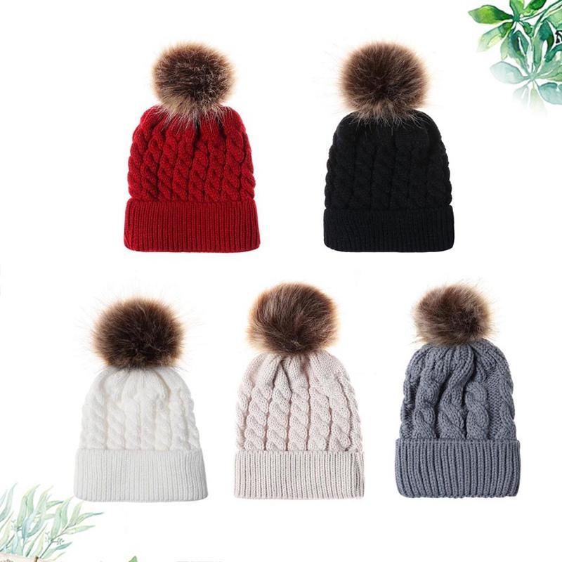 Fashion Cute Newborn Baby Boy Kids Warm Hat Fur Bobble Knit Crochet Beanie Cap Children Winter Hats Kids Outdoor Wear Supplies