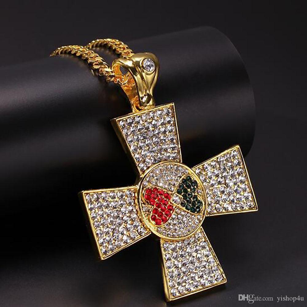 14K Gold Plated Hip Hop Red Black Love Heart Spilce Jesus Cross Pendant Necklace Micro Pave Cubic Zirconia Diamonds DJ Singer Accessories