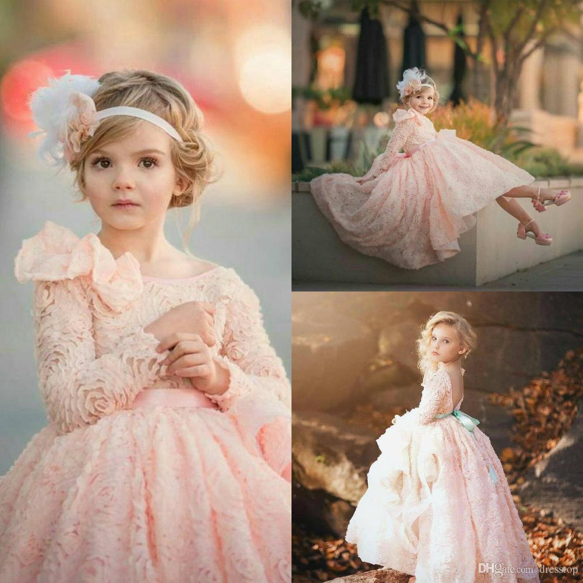 Elegante Blush Pink Vestidos de flores para niña 3d Cascading Ruffles Vestido de manga larga Primera comunión santa Vestidos Vestidos para niñas