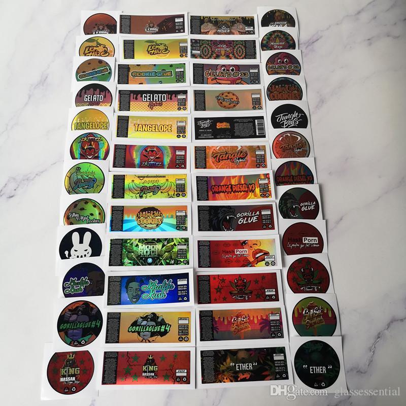 New Hologram Sticker pour 3,5 grammes 60ml mince menthe Biscuits pot en plastique réservoir à sec Herb Flower Container avec des autocollants