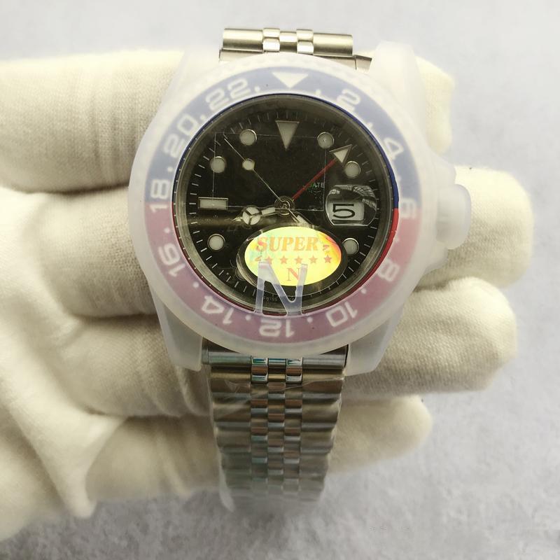 2020 Механическая Автоматическая Top V3 Версия GMT Мужские часы 50M Водонепроницаемый ETA 2813 Sapphire керамический ободок из нержавеющей стали Застежка Твердая