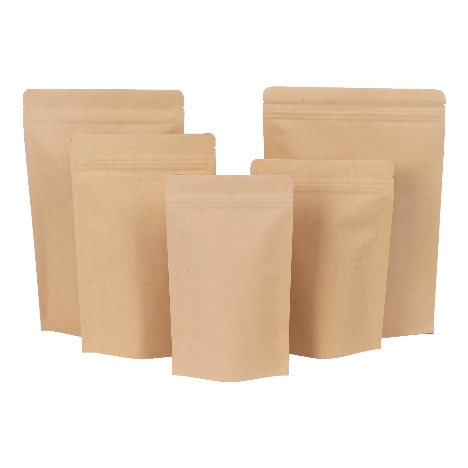 500pcs Zipper Brown Kraft aluminizing bolsa, Stand up kraft papel alumínio saco de plástico Zip Resealable aperto bloqueio selar Food Grade DHL