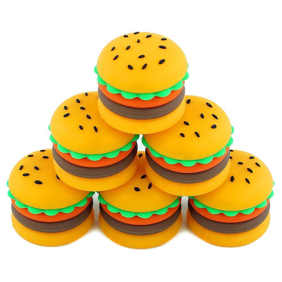 Contenitori di cera antiaderente Silicone Hamburger a forma di hamburger 5ml Contenitore per olio di fumo Barattoli di immagazzinaggio di grade per vaporizzatore Vape DAB Strumento