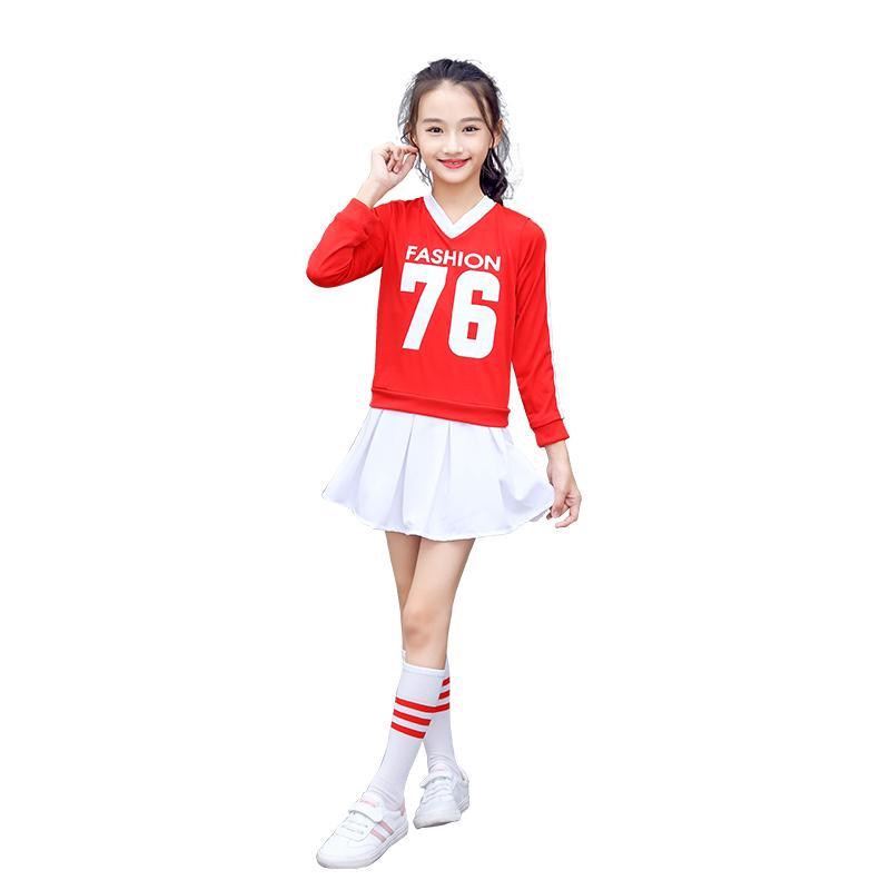 Chicos y chicas de manga larga de Cheerleading Disfraces traje de la danza de la ceremonia de apertura Juegos Otoño Jazz Dance Ropa