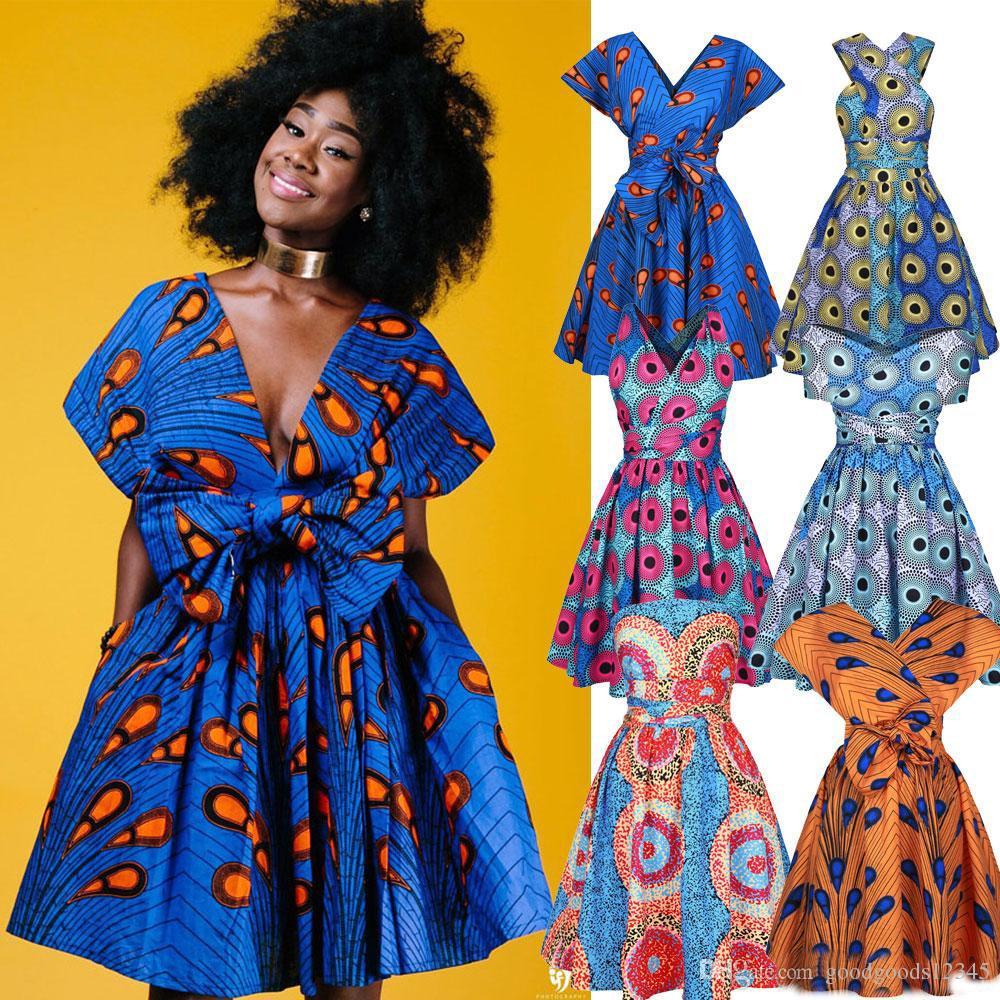 Kadınlar Casual Afrika Gelenek Giyim Ankara Seksi Parti Elbise Baskı Çok Yönlü Yaz Afrika Baskı Tarzı Sundress