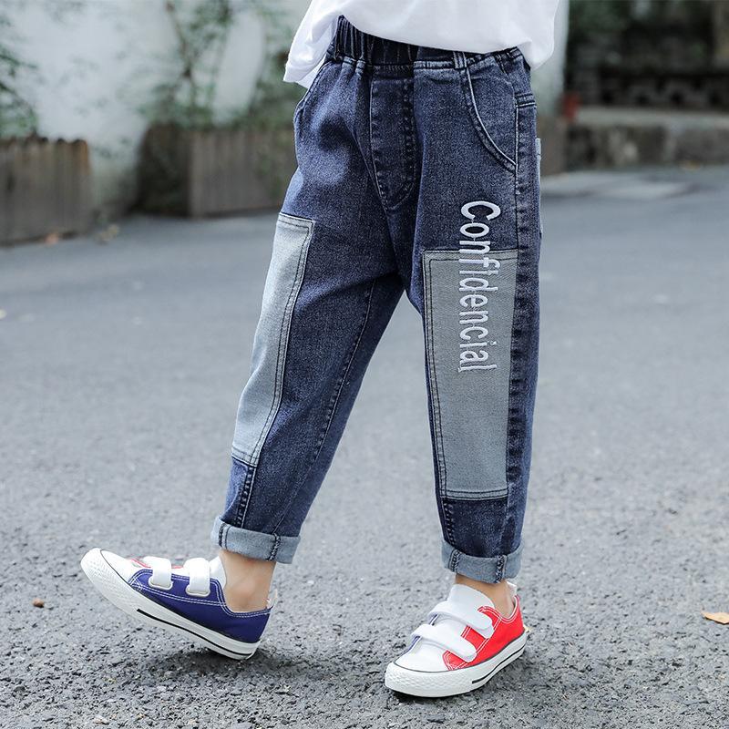 Roupa Outono Nova Denim Calças Meninos moda Jeans seção fina soltas Casual Calças infantis