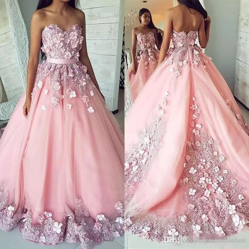 아랍어 꽃 댄스 파티 드레스 긴 공식 블러셔 핑크 스위트 16 복장 아가 3D 꽃 애호가 비즈 지퍼 뒤로 긴 저녁 파티 가운