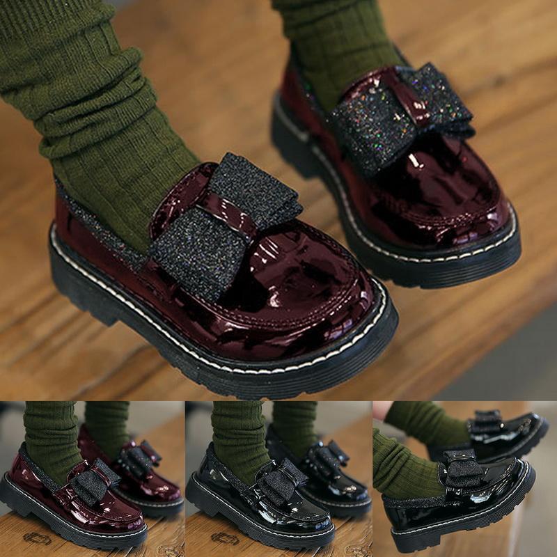 أحذية أطفال جلدية 2020 ربيع بنات جديدة الأميرة الصلبة لون القوس شقة أحذية النمط البريطاني الأطفال أحذية أطفال فتاة دروبشيب