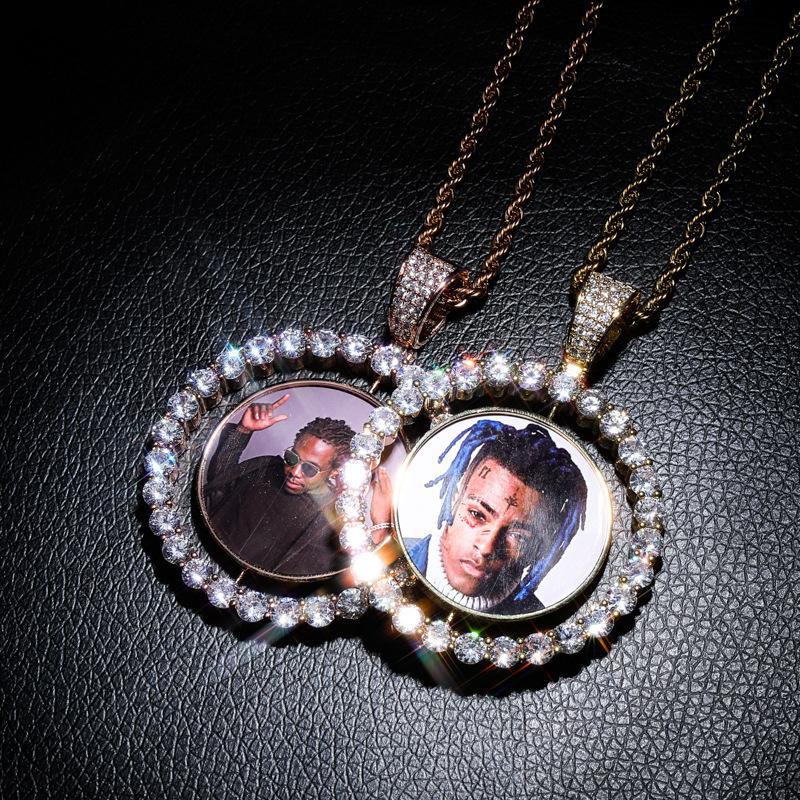Personalizado Foto colares 2 lados rotativo Designer Colares do Moda Zircon 18K ouro ródio Homens Mulheres Hip Hop colares