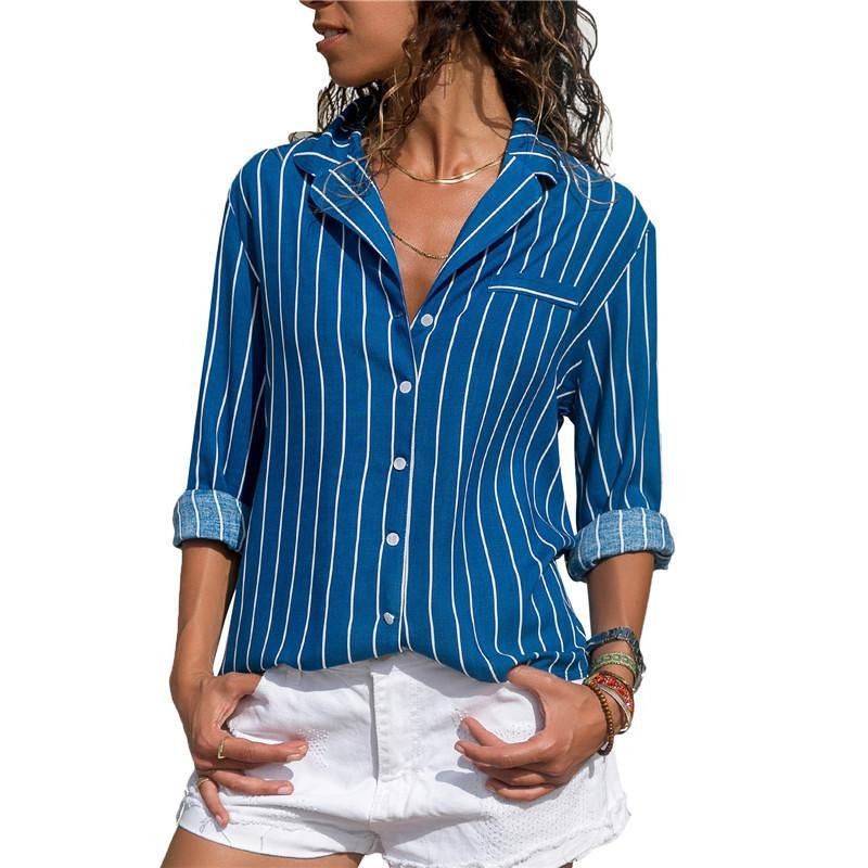 Gestreifte Bluse 2018 Damen Tops und Blusen Lange Ärmel Damen Langarm Bürohemd Gestreiftes Blusenhemd Plus Size Blusas