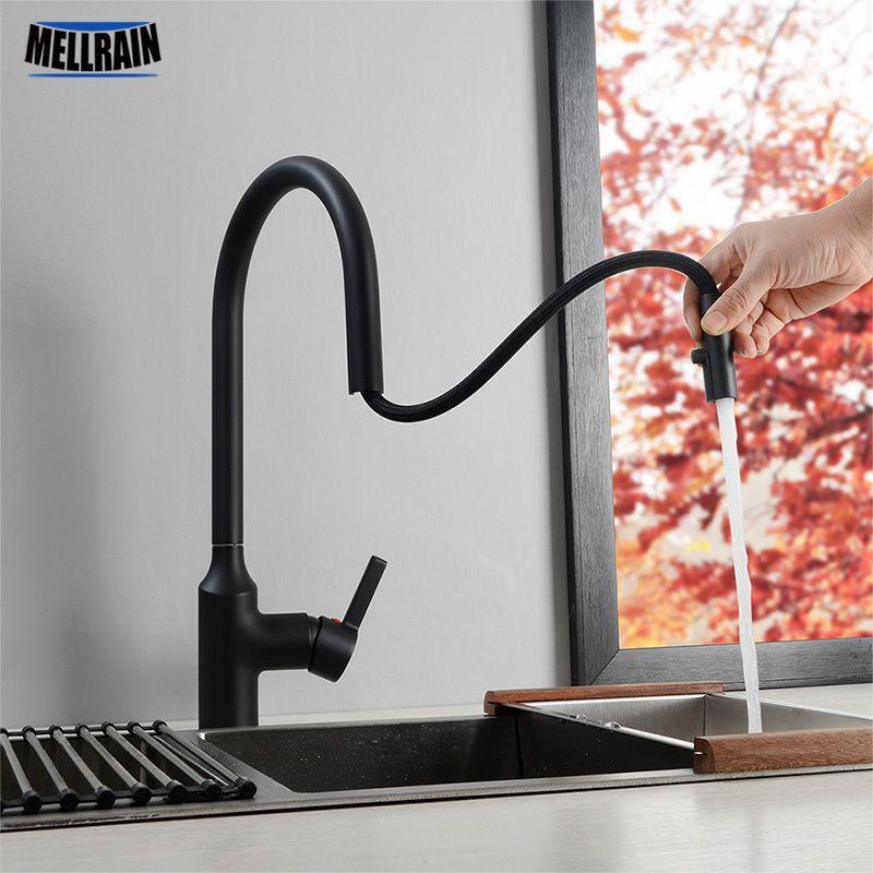 Ocultos Tire aireador de grifo de la cocina Negro mate cromo del fregadero de cocina mezclador de agua del grifo cuenca del orificio de grifo de latón T200424
