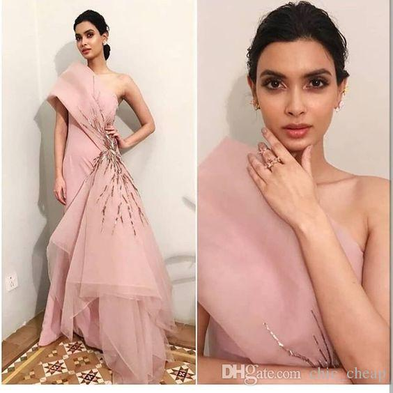 Blush Pink Stylish Sexy 2019 African Evening Dresses One Shoulder Satin Organza Prom Dresses Cheap Formal Party Bridesmaid Pageant Gowns