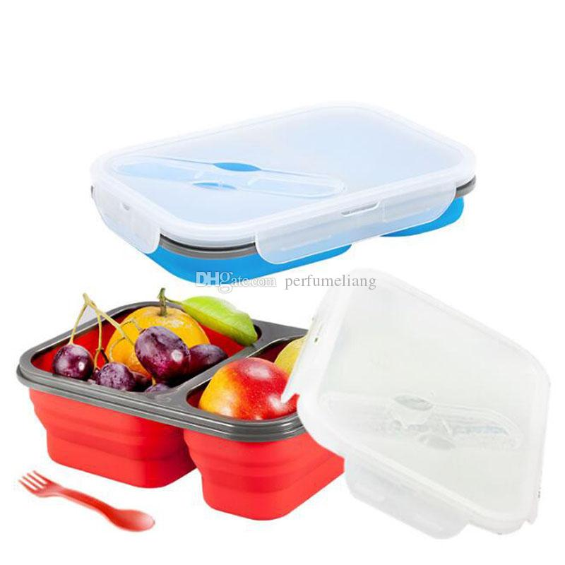2 Cells Silicone Collapsible Portable Lunch Box Microwave Oven Bowl Folding Food Storage Lunch Container Lunchbox QW9838